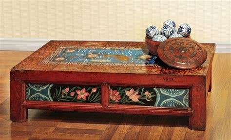 hand painted coffee table hand painted mongolian coffee table asian chicago by