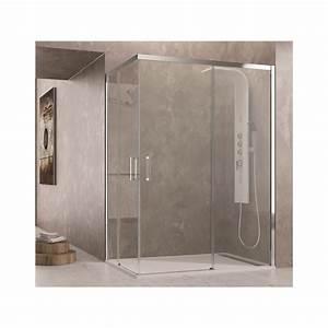paroi de douche d39angle tethys acces sur angle robinet With porte de douche coulissante avec meuble salle de bain double vasque 200 cm