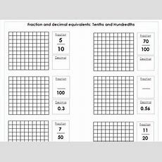 Year 5  6  Fraction And Decimals Equivalents  Tenths And Hundredths Differentiated