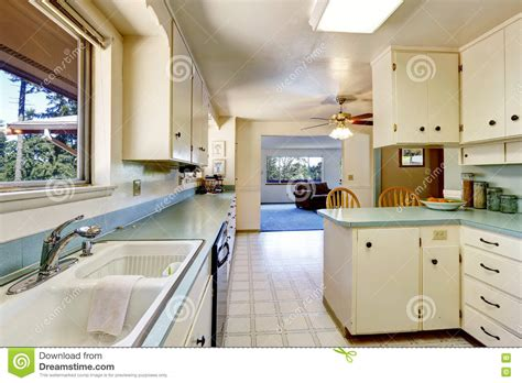 Living Room With American Kitchen by White Empty Simple Kitchen Interior Stock Image