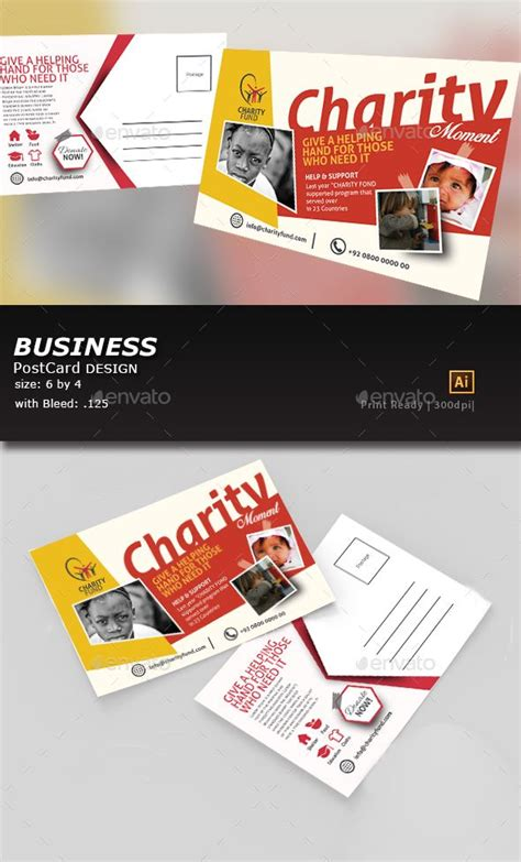kids charity post card template  images business
