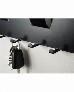 3 in 1 magnetic memo board letter rack and key holder black With letter holder and magnetic key rack