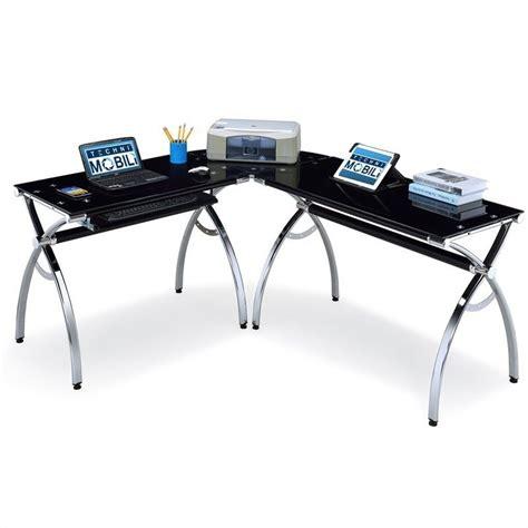Techni Mobili Computer Desk Clear Rta 3802 by Techni Mobili Dachia L Shape Glass Top Computer Desk Rta