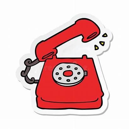 Cartoon Telephone Phone Icon Drawing Sticker Retro