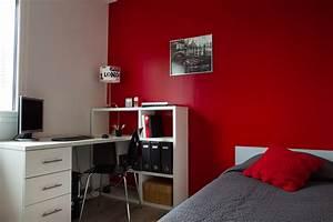 chambre mur rouge et gris inspirations et chambre rouge et With peinture mur rouge et gris