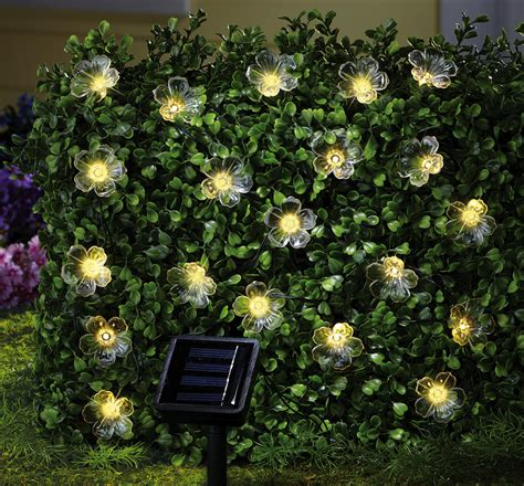 solar flower outdoor garden string lights