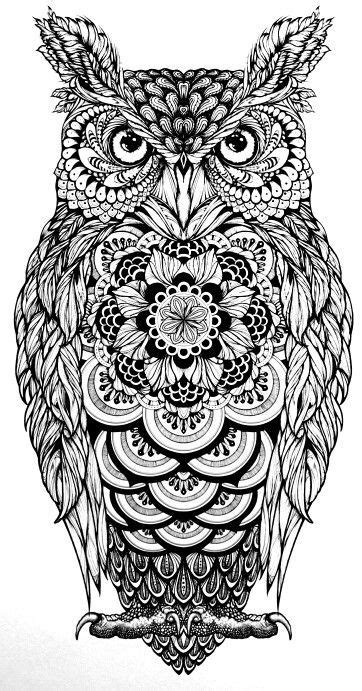 tattoo eule tatoos owl zentangle ausmalbilder owls eule tattoo mehr   Owl coloring pages, Owl