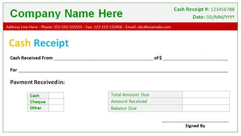 Download Free Cash Receipt Excel Templates For Business