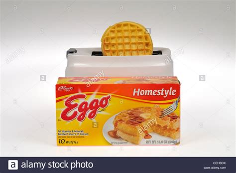 box of eggo frozen waffles on white background in front of