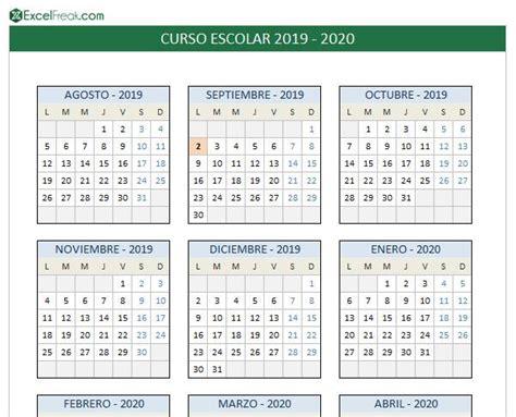 calendario escolar en excel imprimir