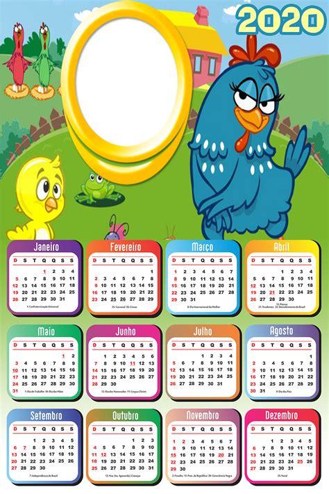 Calendário 2020 da Galinha Pintadinha Moldura PNG Imagem