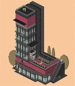 whimsical animated gifs of apartment buildings shaped With building letters