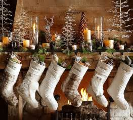 woodland christmas stockings by pottery barn use front space of display use large wood tool box