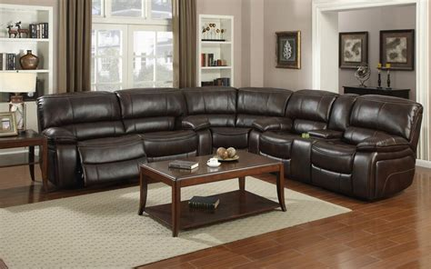 motion  brown  recliner sectional sofa  console kian usa