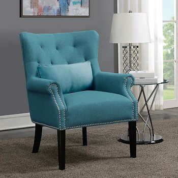 Andrea Fabric Accent Chair, Turquoise