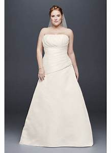 pleated satin drop waist plus size wedding dress davids With plus size drop waist wedding dress