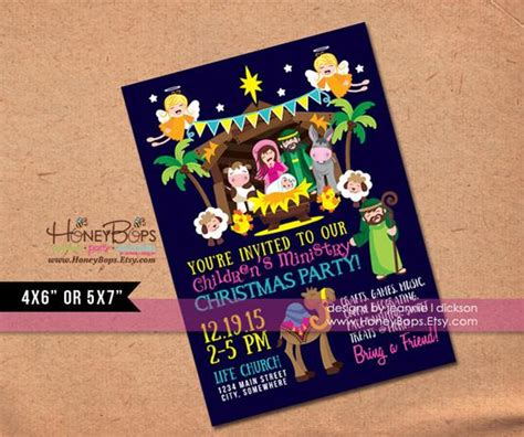 christmas baby jesus party for kids items similar to manger kid s church personalized invitation digital file only