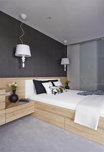 Welche Wandfarbe Schlafzimmer : wandfarbe schlafzimmer dunkelgrau holzbett bettkasten integrierte nachttische wohnung ~ Markanthonyermac.com Haus und Dekorationen