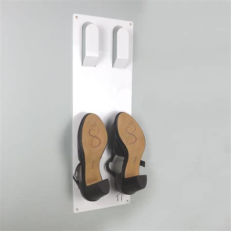 wall shoe rack slimline wall mounted metal shoe rack white