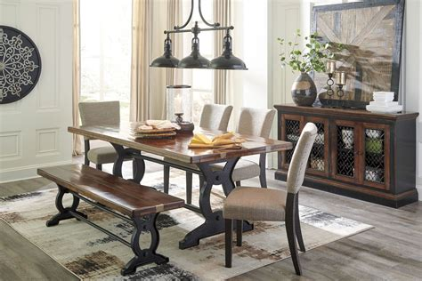 zurani brown  black rectangular dining room set