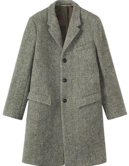 herringbone tweed  wool overcoat topcoat gray grey