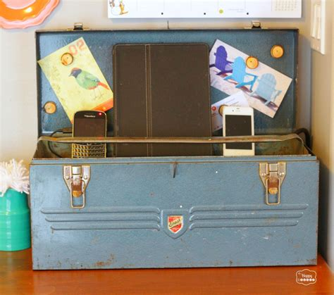 organized   vintage tool box charging station