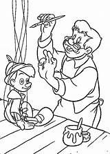 Coloring Pinocchio Disney Printable Geppetto Colouring sketch template