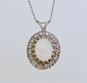 Vintage 14K White Gold Opal Diamond Pendant Necklace