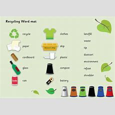 Recycling Word Mat  Eyfs Free Teaching Resources  Free Early Years & Primary Teaching