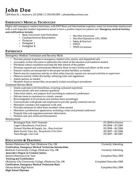 resume builder for paramedic emt description resume nmdnconference exle