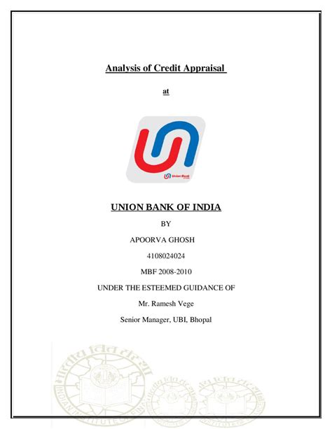 analysis  credit appraisal  union bank  india