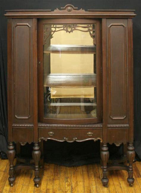 antique victorian walnut bowed glass china hutch  scrantonattic