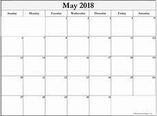 May 2018 free printable blank calendar collection