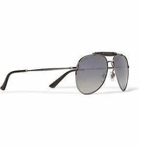 Gucci Bambootrimmed Mirrored Polarised Metal Aviator ...