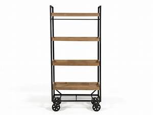 étagère 60 Cm Largeur : tag re chariot industriel roues fer et bois 4 plateaux ~ Teatrodelosmanantiales.com Idées de Décoration