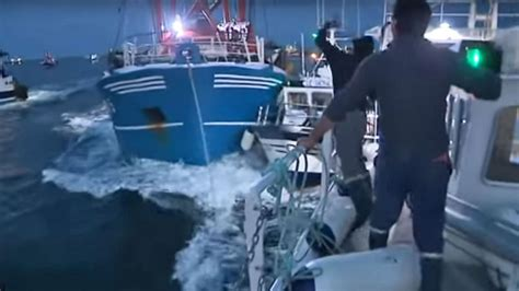 French Fishing Boat Attack by French Fishermen Attack British Boats With Smoke Bombs