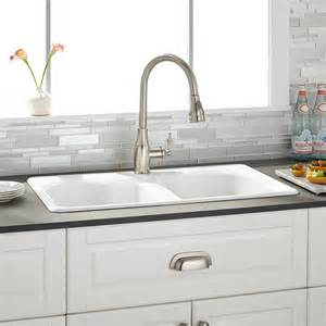 Kitchin Sinks by 32 Quot Berwick White Double Bowl Cast Iron Drop In Kitchen