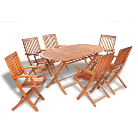 ensemble table et chaise exterieur vidaxl wooden outdoor dining set 6 chairs 1 oval table