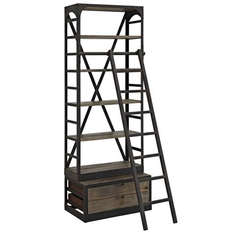 Industrial Bookcase With Ladder by Velocity Industrial Wooden Bookcase With Cast Iron Frame