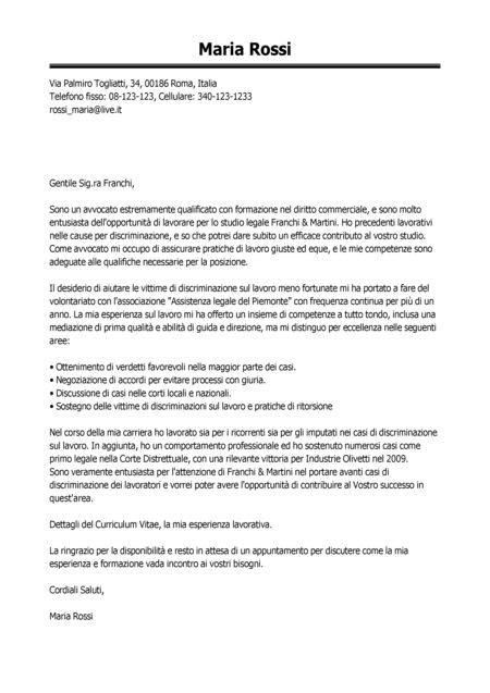 lettere di presentazione aziendale esempio lettera di presentazione avvocato modello