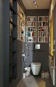 Deco Wc Gris : une d co de wc peints en gris avec niches biblioth que ~ Melissatoandfro.com Idées de Décoration