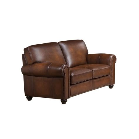 Discontinued Uttermost Ls by Royale Olive Brown Genuine Leather Loveseat With Nailhead Trim