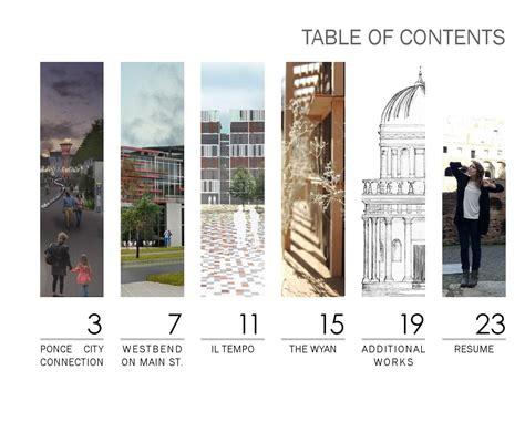 11439 architecture portfolio table of contents portfolio architecture student students and architecture