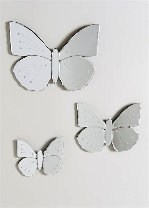set   glass butterfly mirrors  matalancouk