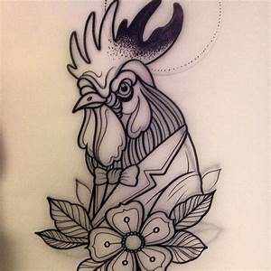 Tattoo of rooster – New school, animal, fauna, rooster ...