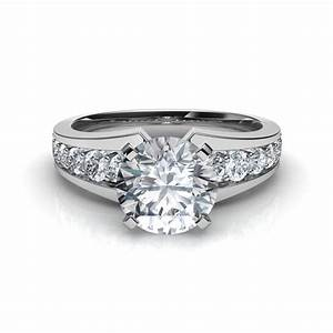 tapering pave diamond engagement ring With pave wedding rings