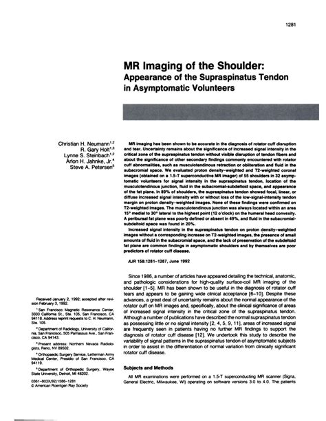 (PDF) MR Imaging of the Shoulder: Appearance of the ...