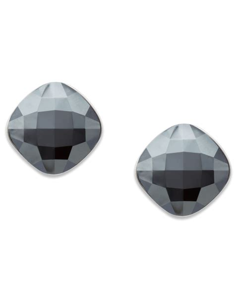 lyst swarovski jet hematite stud earrings  black