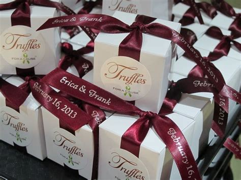 burgundy  champagne wedding chocolate wedding favors
