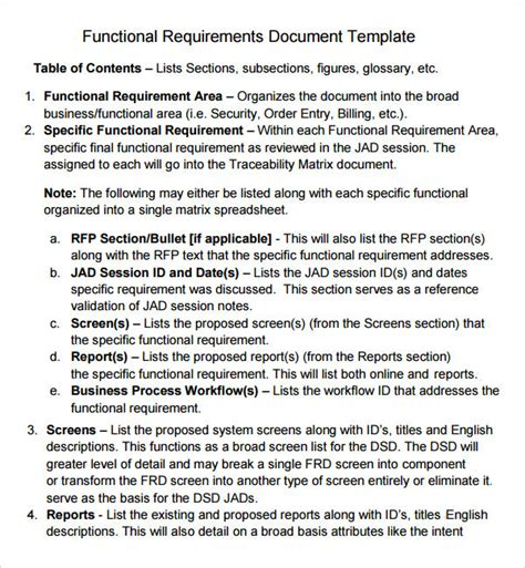 functional requirements document template 7 business requirements document templates pdf word sle templates